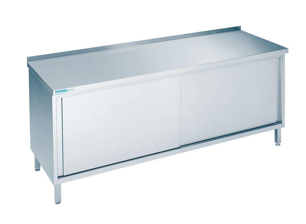 edelstahl arbeitsschrank chromonorm 700 mm tief mit schiebet ren gastro kurz. Black Bedroom Furniture Sets. Home Design Ideas