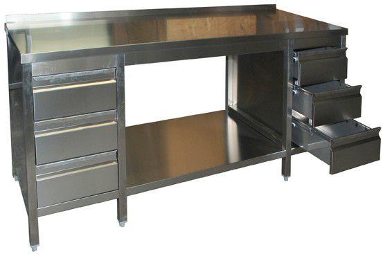 edelstahl arbeitstisch ggg 700 mm tief mit 2 x schubladenblock gastro kurz. Black Bedroom Furniture Sets. Home Design Ideas